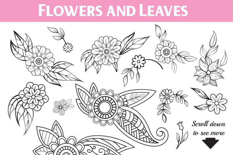 Photo of Floral Doodles Collection by Elionorka   TheHungryJPEG.com