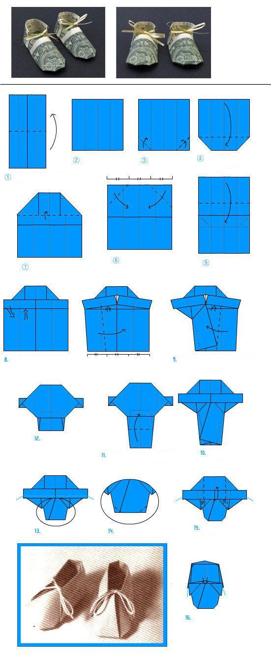 baby booties diagram money shoe origami origami