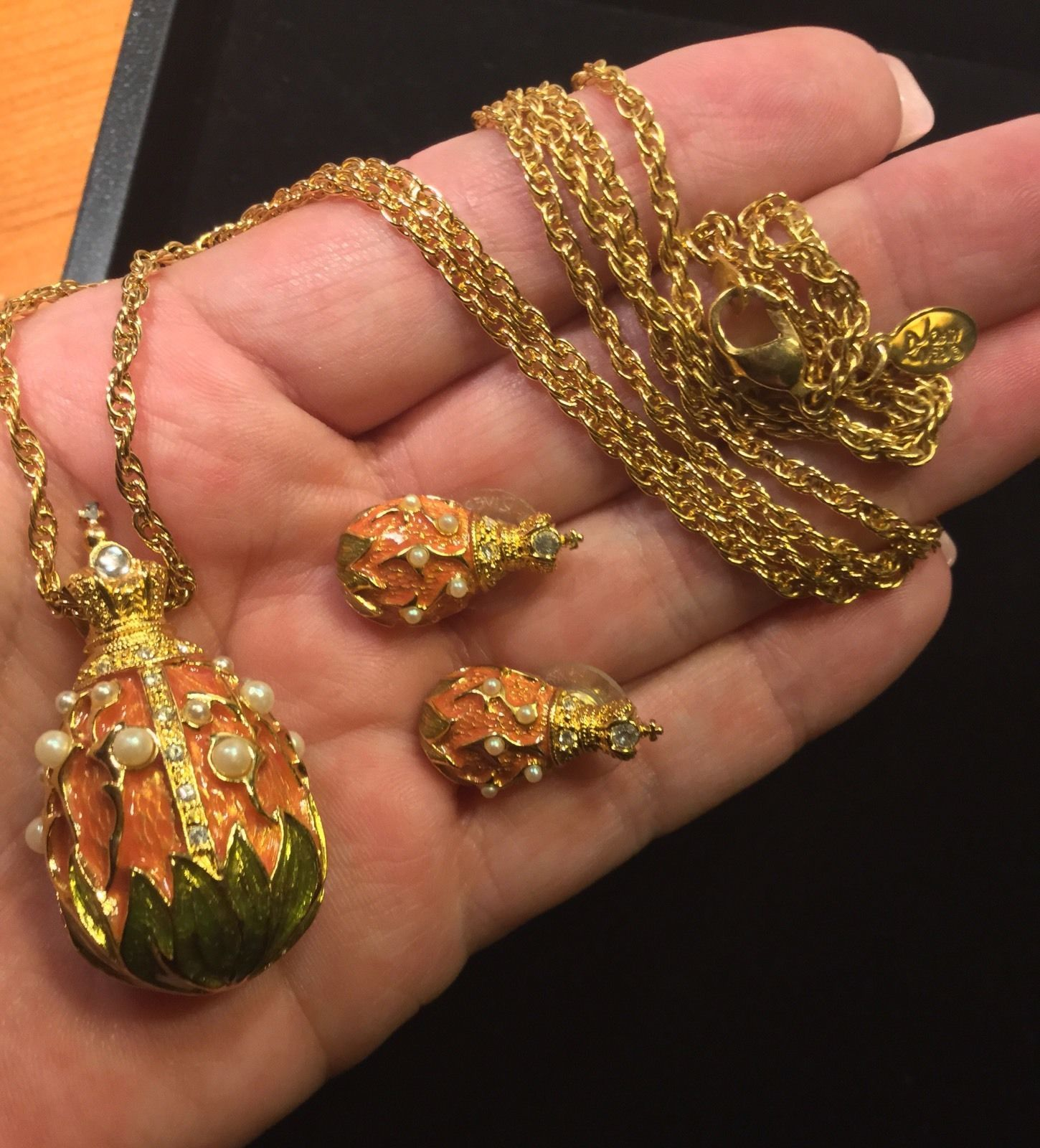 Joan Rivers Lily of The Valley Egg Earrings and Necklace Set | eBay