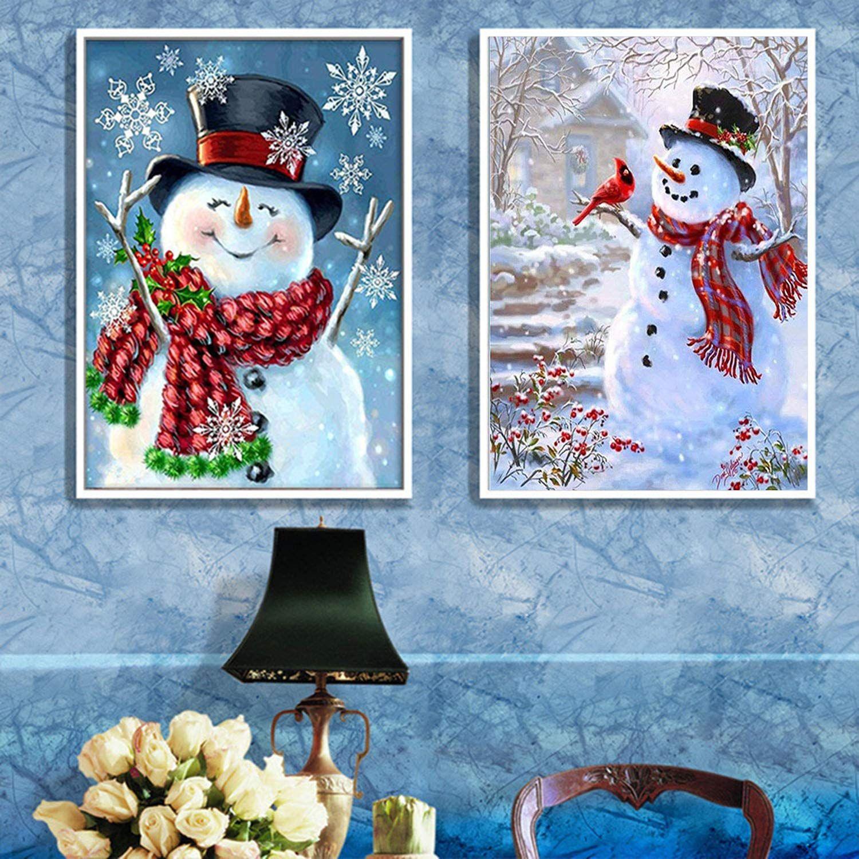 Snowman 5D Full Drill Diamond Painting DIY Cross Stitch Craft Home Decor Art