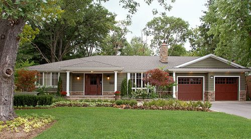 """Ranch Exterior Paint Colors the siding color is """"sagebrush"""" from benjamin moore and the roof"""