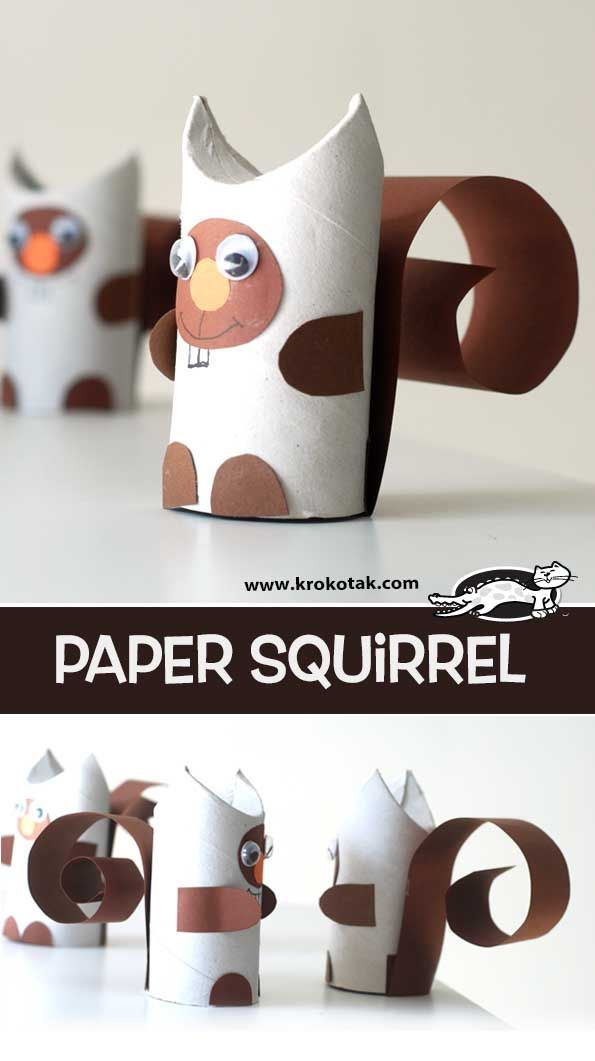 paper squirrel krokotak basteln mit kleinkindern. Black Bedroom Furniture Sets. Home Design Ideas