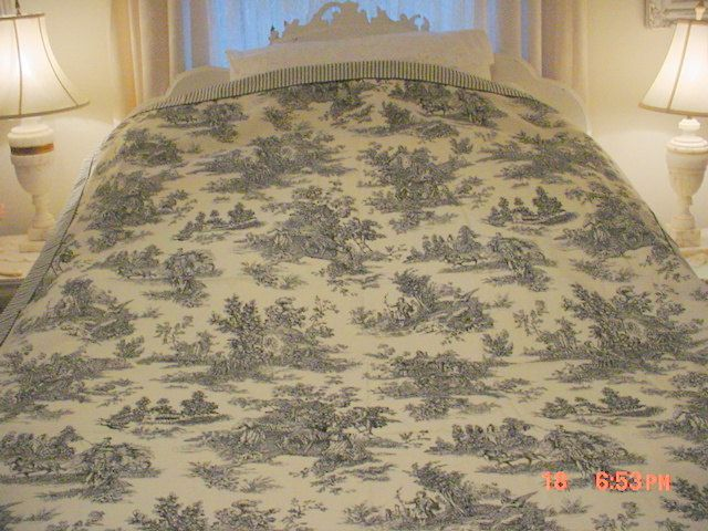 Toile Bedspread French Bedcover Waverly Coverlet Twin Cottage Prairie Shabby Chic Toile Bedspread French Bedcover Waverly Coverlet Twin Cottage Prairie Shabby Chic
