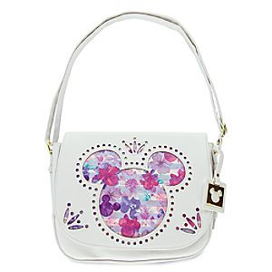 Mickey and Minnie Mouse Icons Floral Crossbody Bag - Disney Boutique | Disney Store This lovely faux leather crossbody bag features a cut-out Mickey Mouse icon overlay above a pattern of Mickey and Minnie icons, soft stripes and a dreamy cascade of watercolor-hued petals that will make you feel as if spring has sprung!