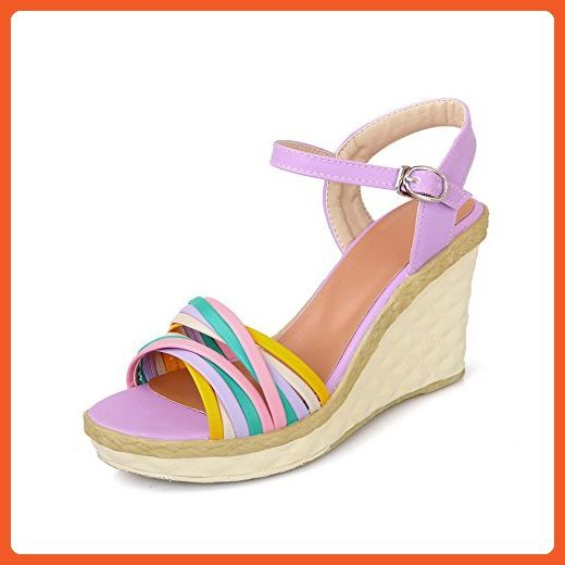 adc2264d654 WeenFashion Women's Buckle Open Toe High-Heels PU Assorted Color ...