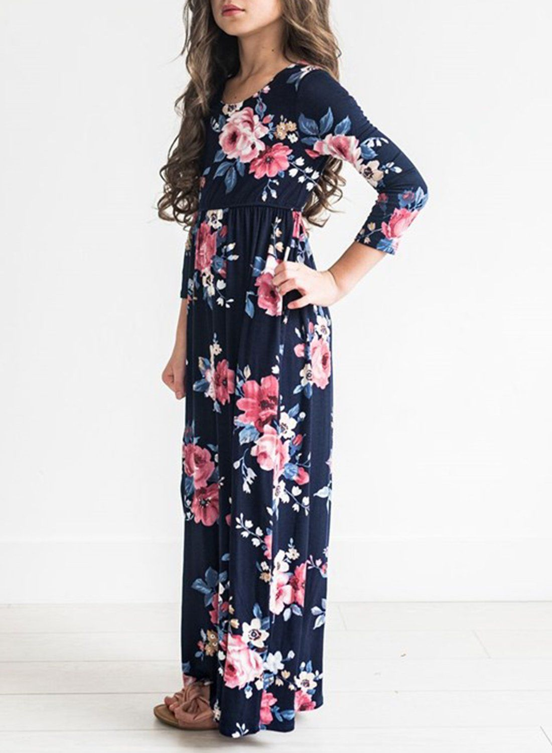 Mitilly Girls Flower 3 4 Sleeve Pleated Casual Swing Long Maxi Dress With Pockets 10 Years Dark Blue Click On Floral Dress Casual Maxi Dress Long Maxi Dress [ 1500 x 1100 Pixel ]