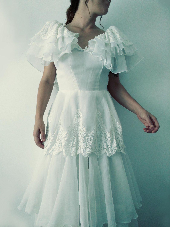 Vestido de novia vintage. Vestido boho novia blanco mujer. Vestido ...