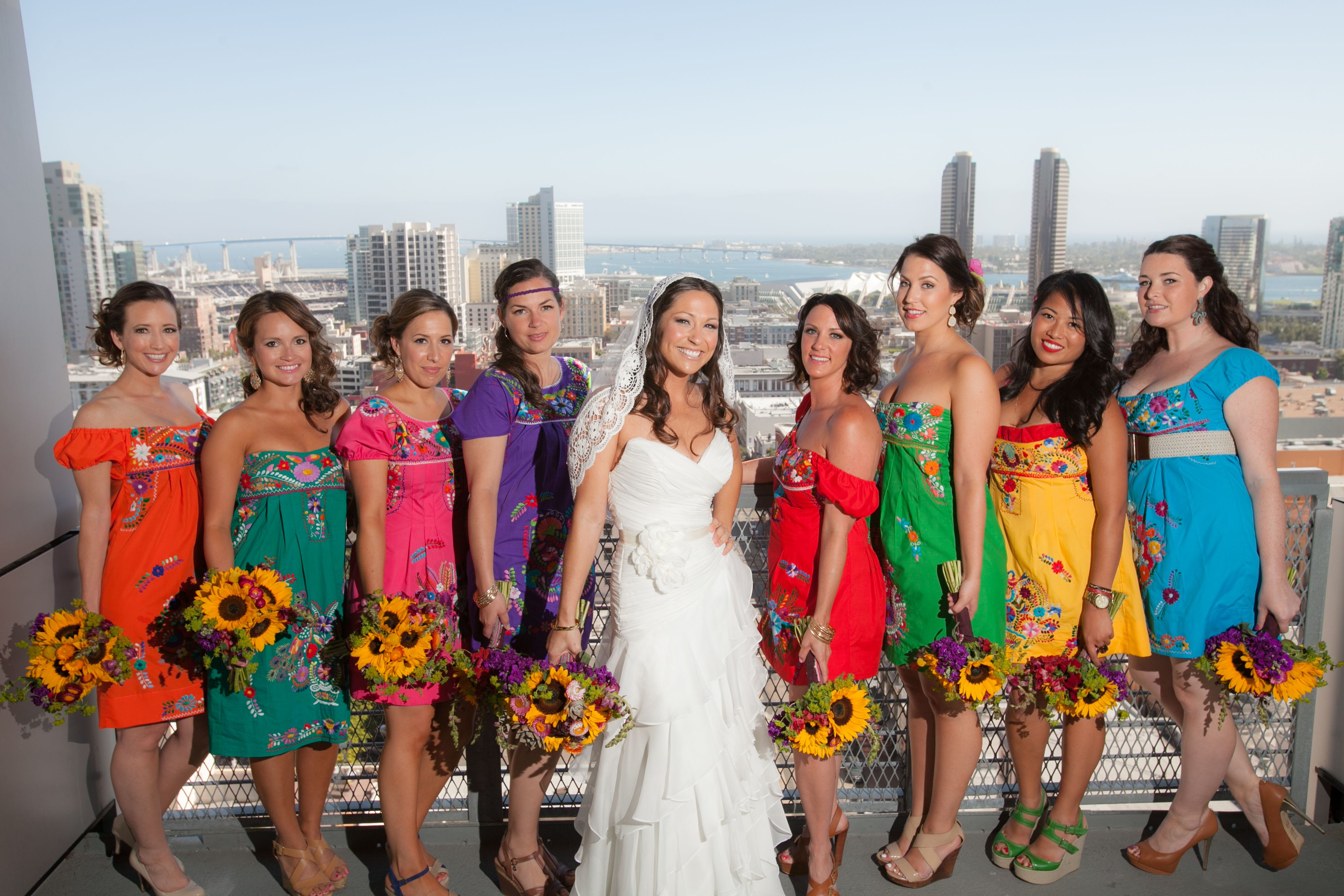 Authentic mexican style bridesmaid 39 s dresses sunflowers for Mexican style wedding dress