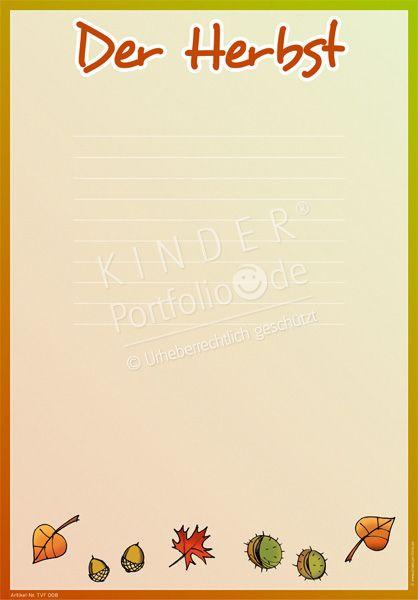 Kindergarten portfolio vorlage der herbst for Herbst im kindergarten
