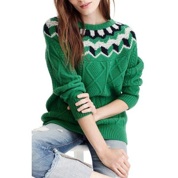 Women's J.crew Wide Neck Fair Isle Sweater (€170) ❤ liked on ...