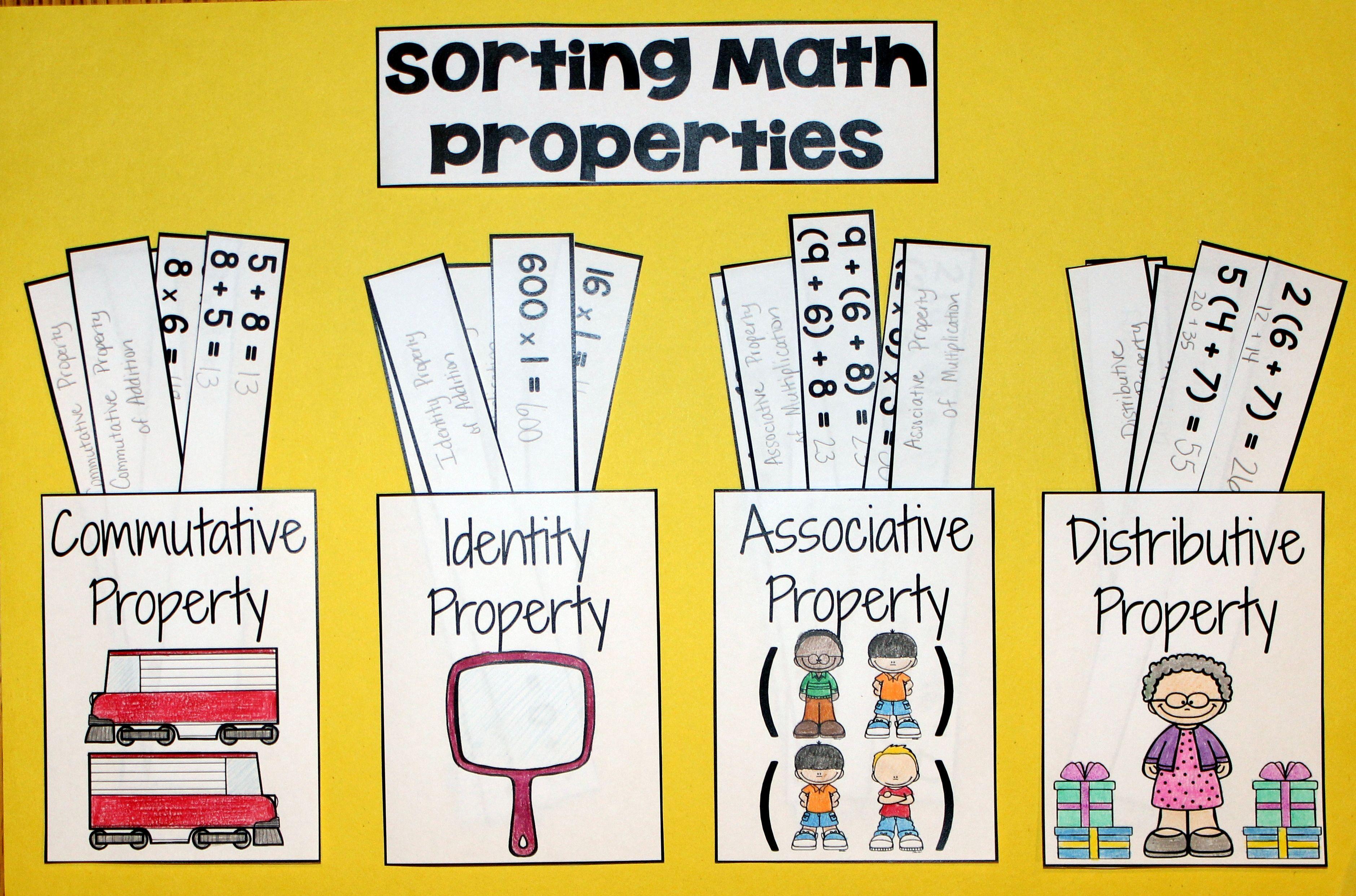 Math Properties Sorting Activity | Math Anchors | Math