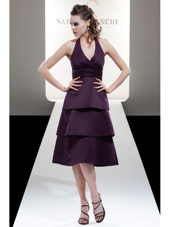 Halter V-neck Satin A-line Tea Length Bridesmaid Dress With Flattering Pleated Bodice