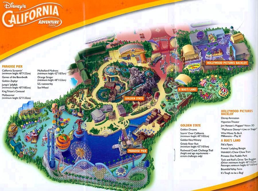 Map Of California Disney.Disney S California Adventure Map 2003 Home Themed Lands And Parks