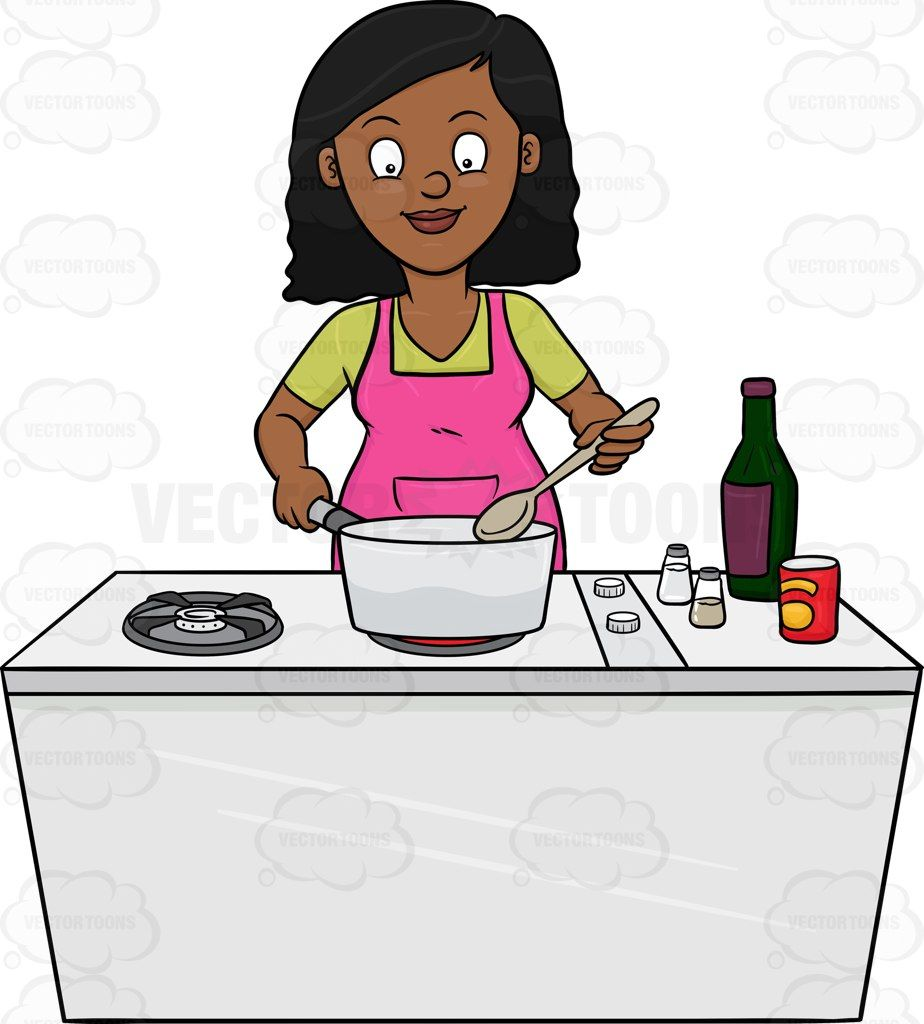 A Black Woman Looks Happy At The Yummy Dish She Is Cooking Pink Apron Cartoon Clip Art Looking For Women