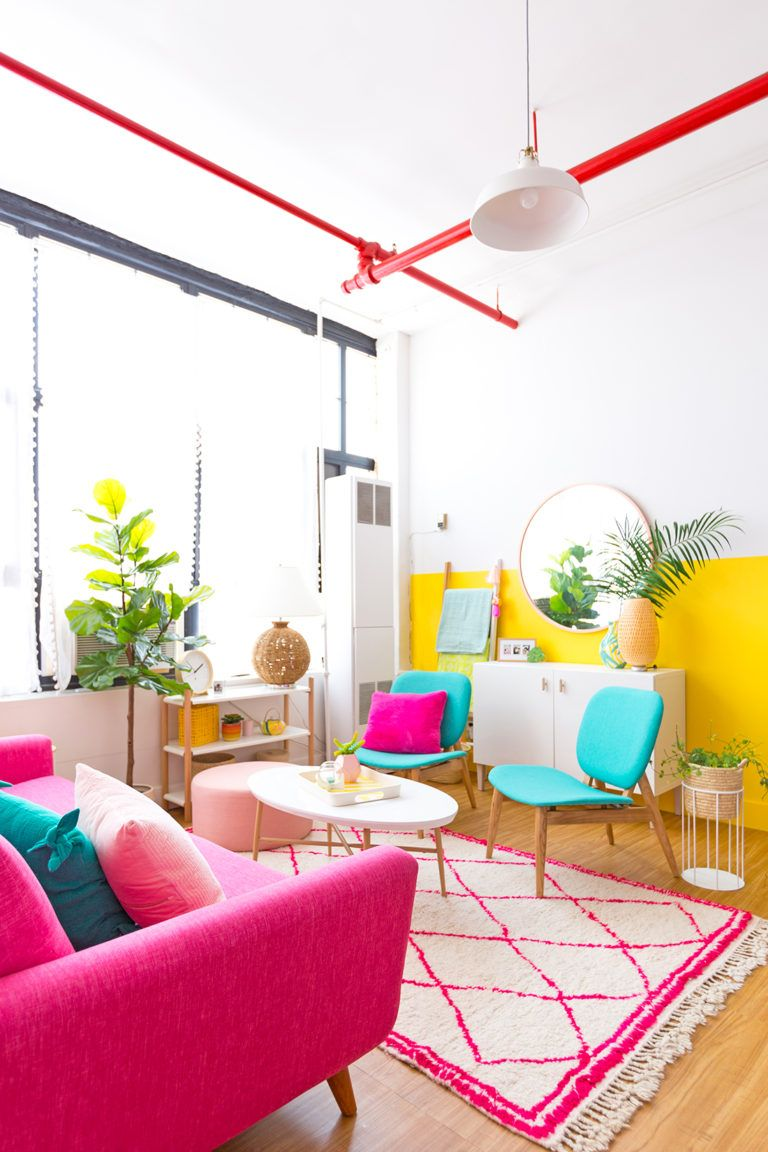 Awwpartment Living Room Reveal In 2020 Yellow Living Room Living Room Reveal Colourful Living Room #pink #and #yellow #living #room