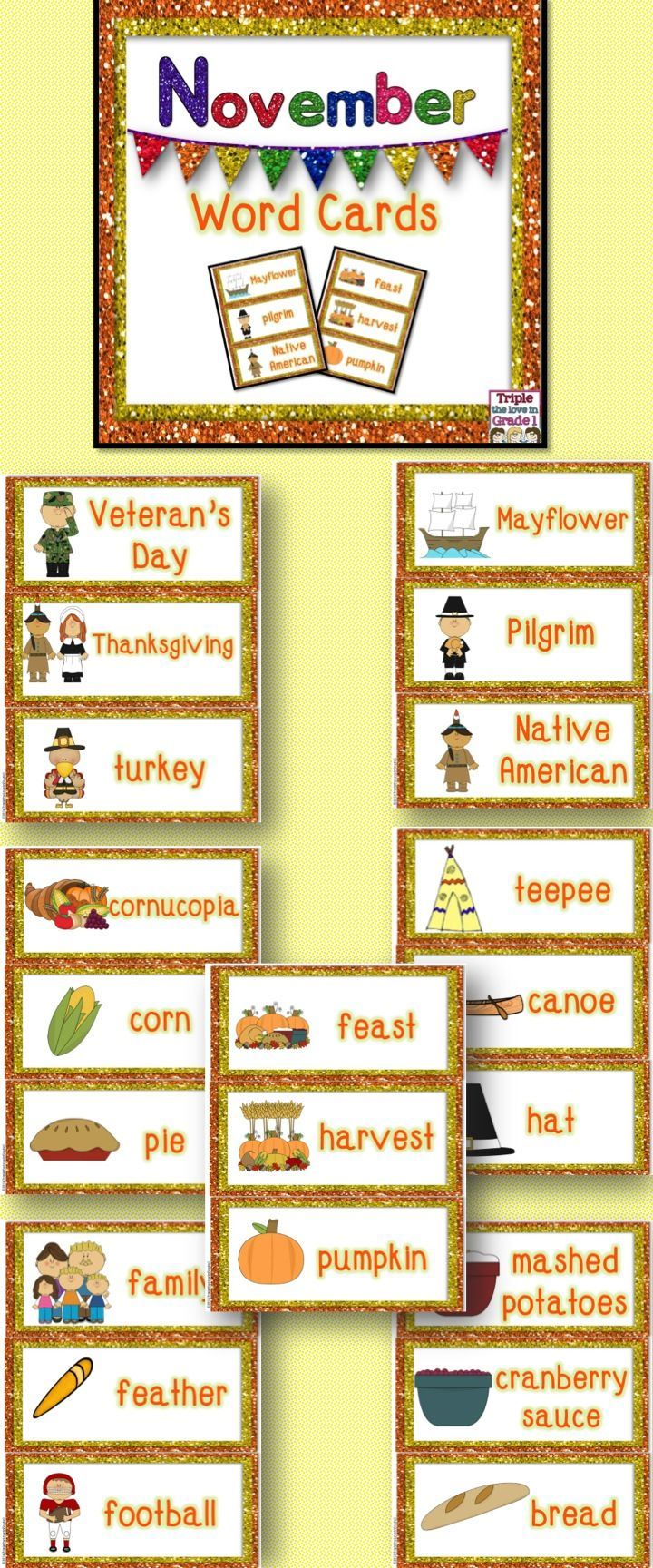 November Word Cards | Bulletin board display, Bulletin board and Chart
