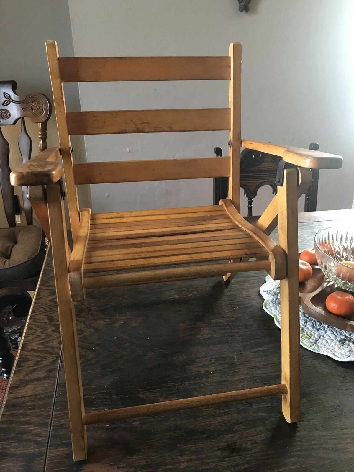 Enjoyable Details About Vintage Nevco Childrens Wooden Folding Chair Onthecornerstone Fun Painted Chair Ideas Images Onthecornerstoneorg