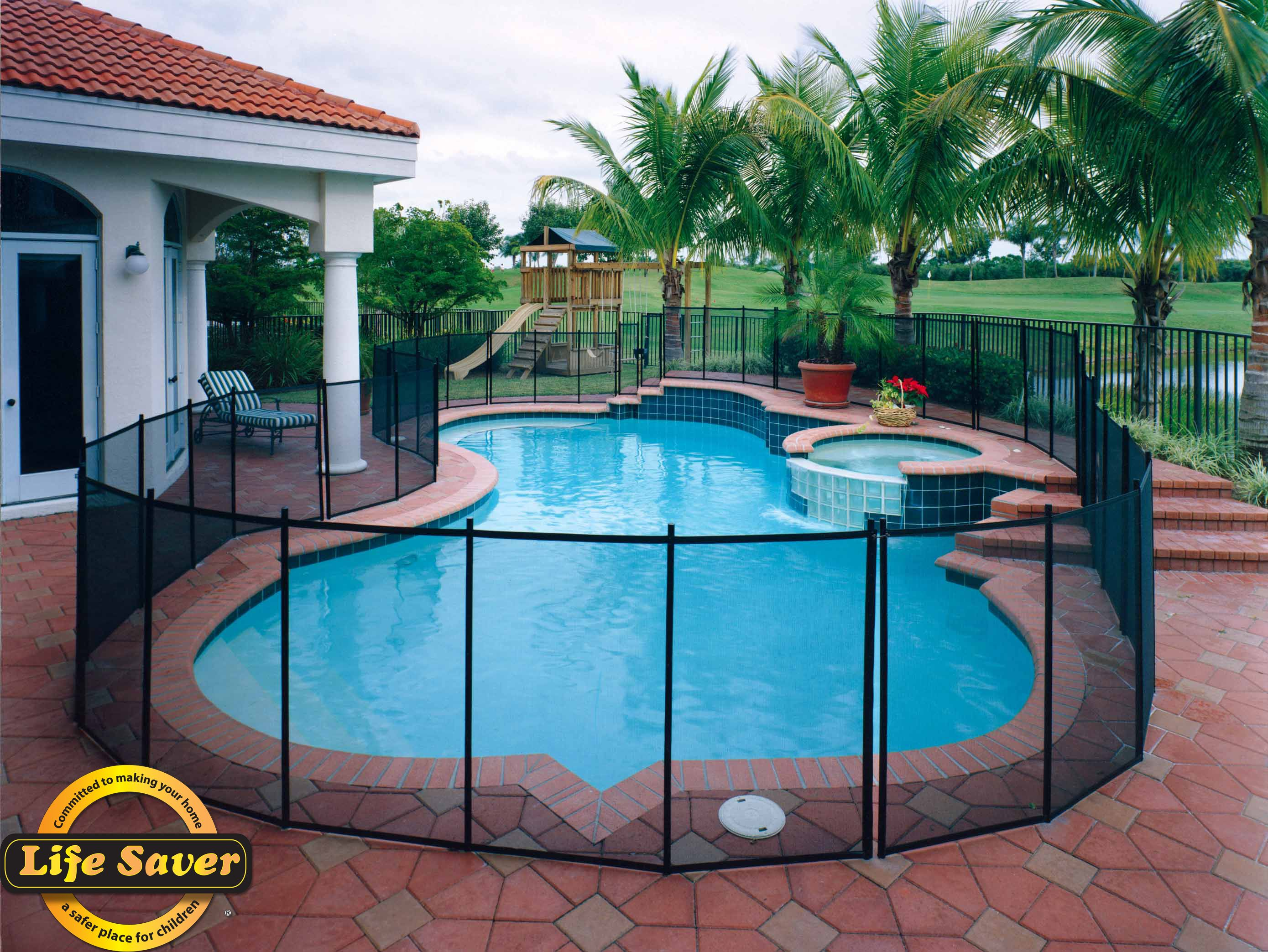 Removable mesh pool safety fence. 4' tall, all black