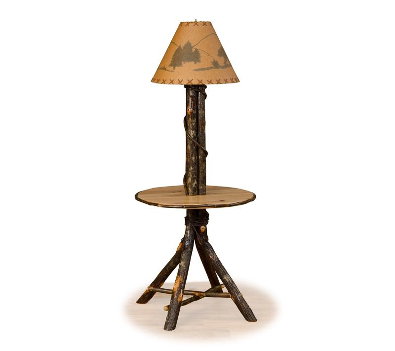 Handcrafted Log Furniture Is Our Specialty   This Log End Or Side Table Is  Handcrafted From Natural Hickory Logs And Features A Built In Lamp.