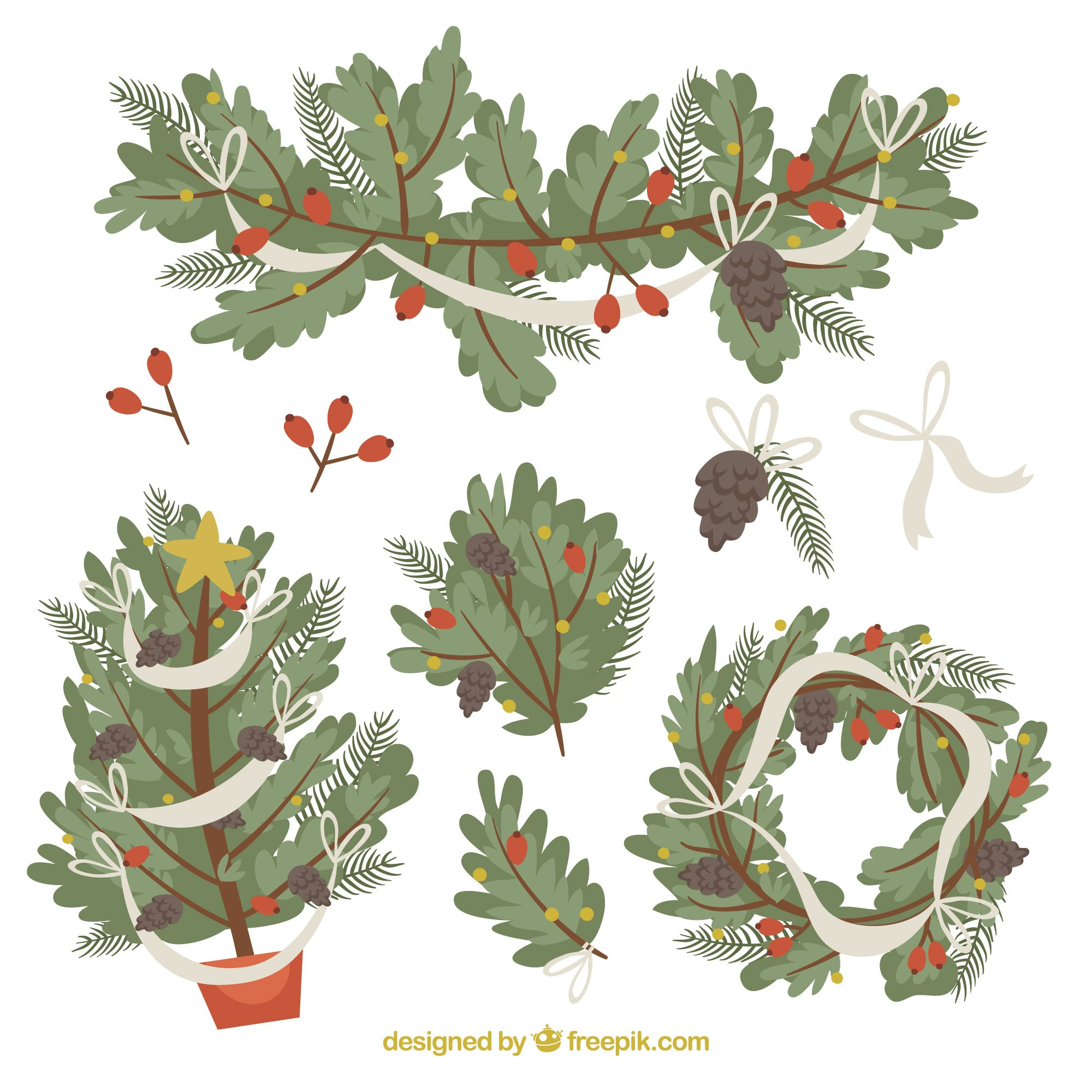 Download Collection Of Green Christmas Wreaths And