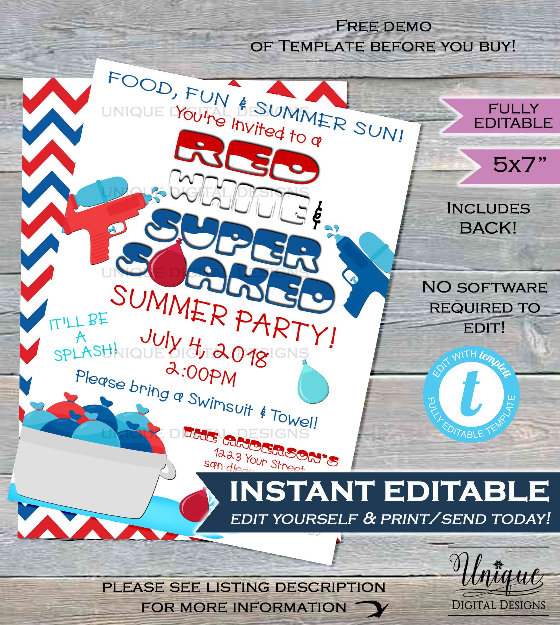 Water Party Invitation Super Soaked Red White Blue 4th Of July Splish Splash Summer Pool Par Water Party Invitations Pool Party Invitations Pool Birthday Party