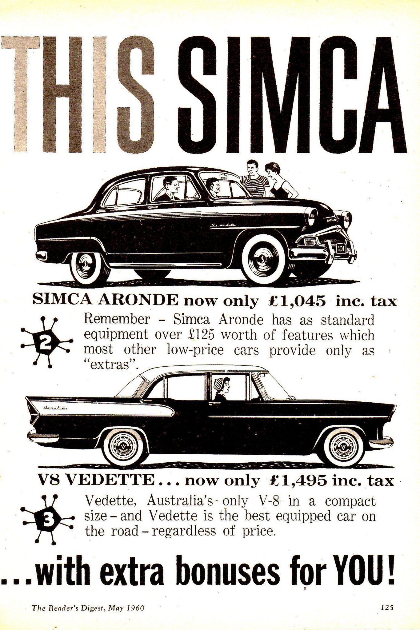 1960 Chrysler Simca & V8 Vedette Page 2 Aussie Original