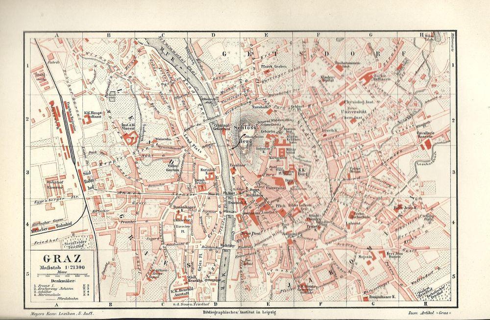 Details Zu 1895 Graz Alte Landkarte Stadtplan Karte Antique City