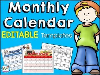 Monthly Calendar Templates Editable  Monthly Calendar Template