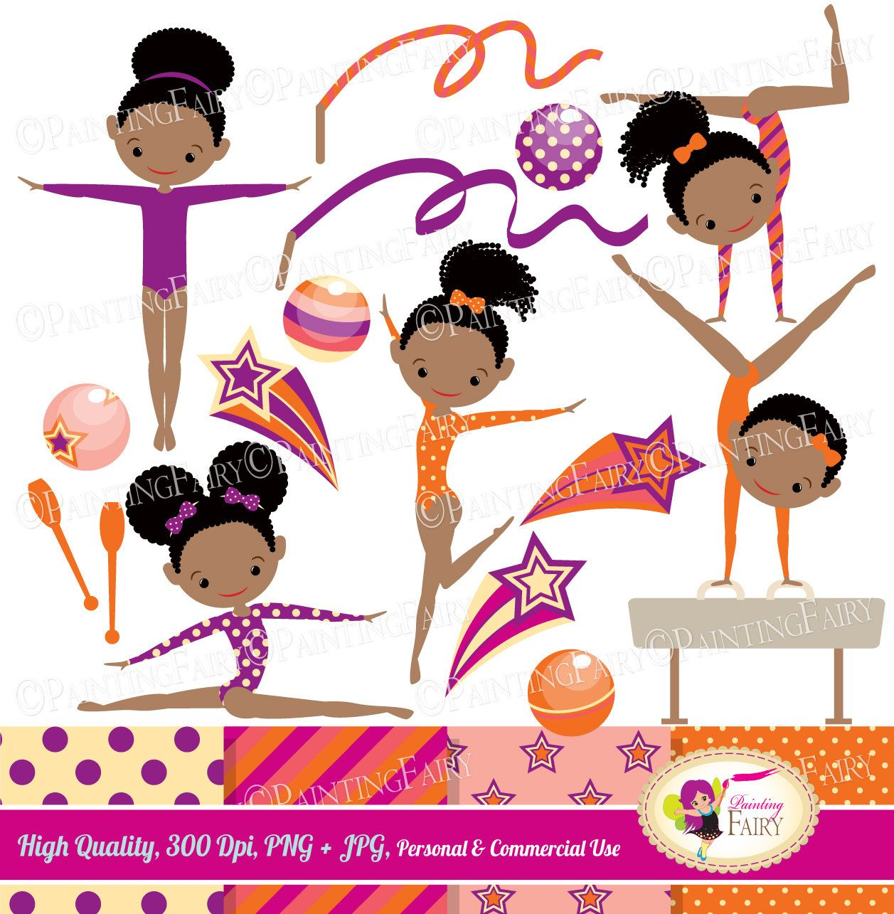 Little Girl Gymnasts Clip Art Set Afro Girl Cliparts Cute dress rhythmic gymnastic acrobatic Sport ribbon elements Digital Papers pf00064-1f by PaintingFairyClipart on Etsy