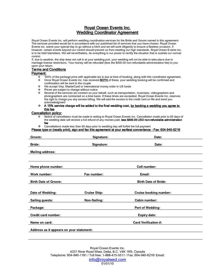 Wedding Planner Contract Sample Templates Future Job Pinterest - agreement form sample