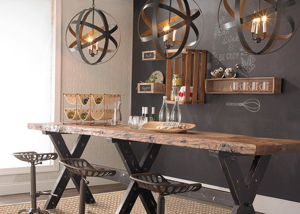 Industrial XBase Plank Top Gathering Table is part of Industrial house - This statement worthy reclaimed wood table is one of our favorite pieces to enjoy the company of food & friends   Long enough for a bar area or in a kitchen or dining room, this table features reclaimed wood so that no two pieces are exactly the same  The massive  X  shaped wood table base is painted in distressed black to set off the rustic reclaimed wood top  Solid & sturdy, this piece will hold its beauty and uniqueness for many years to come  Mild assembly required   (Approximately 35 Hx118 Wx27 D)  Tabletop measures 1 75  thick