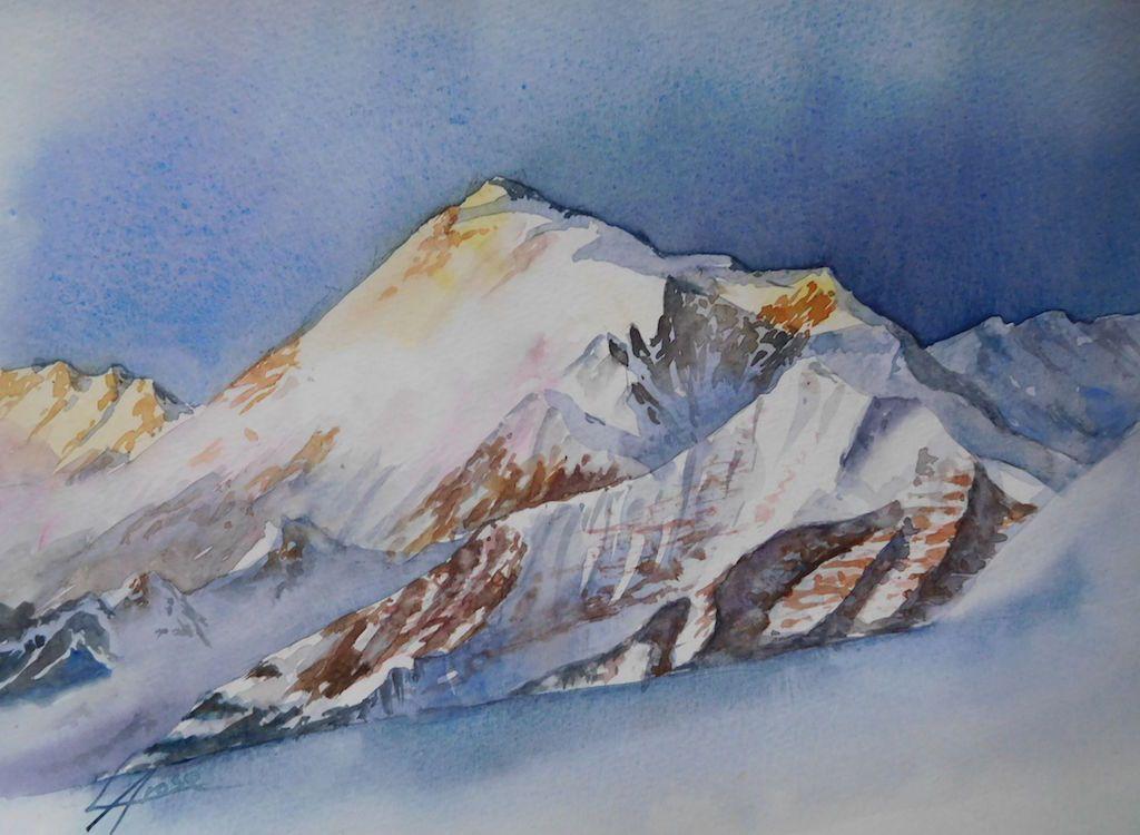 Aquarel Nuit Sur Mont30x40 Aquarelle Comment Peindre Et