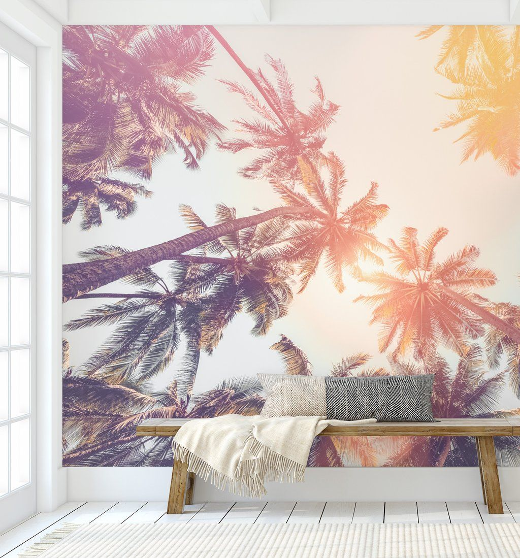 Palm Tree Wallpaper Mural Premium Fabric With Adhesive Backing Peel Stick Smooth To Install Tree Wallpaper Bedroom Palm Trees Wallpaper Mural Wallpaper