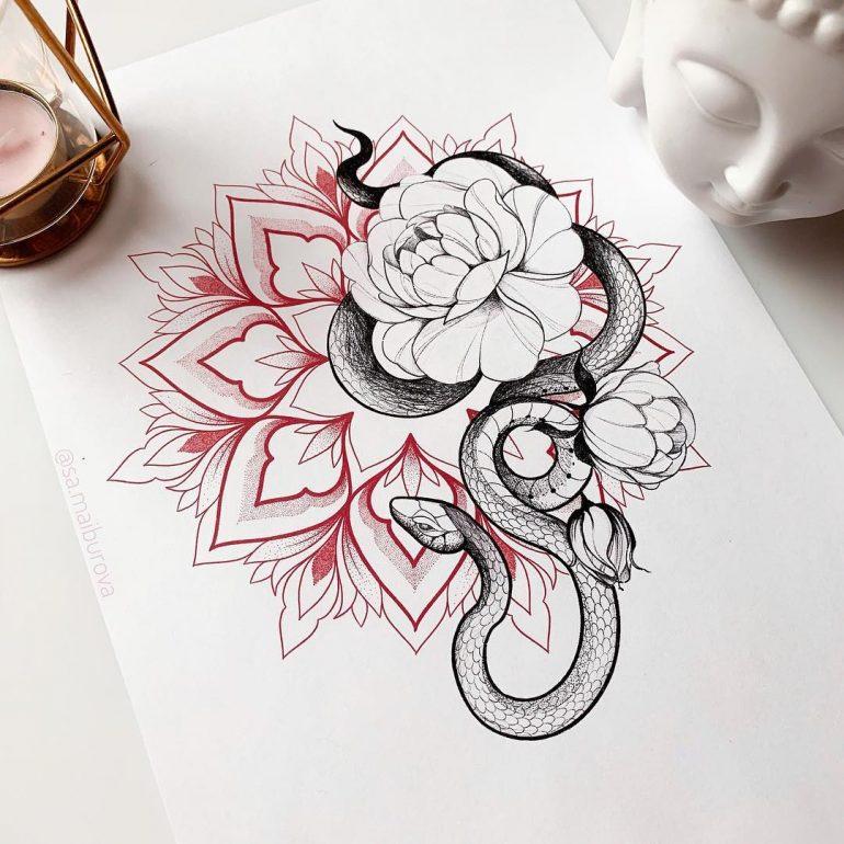 Photo of Couleur de tatouage de fleur de serpent sur Inspirationde