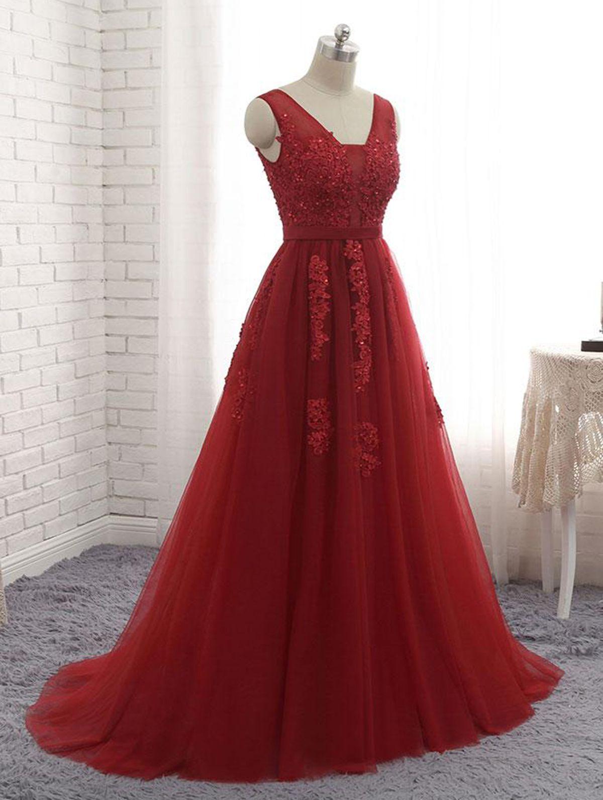 Simple v neck long burgundy tulle halter eveningdress promgown