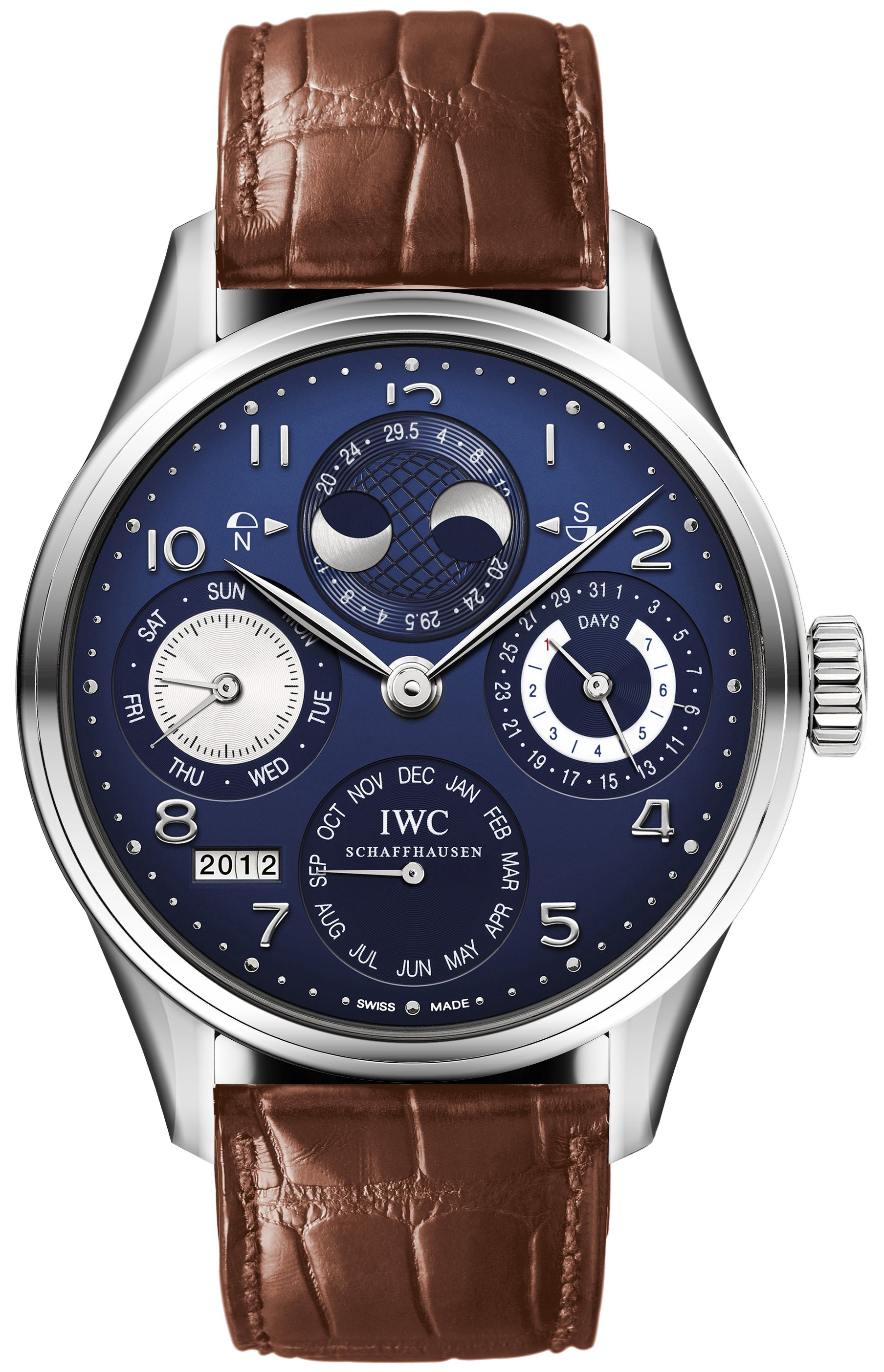 IWC Portuguese Perpetual Calendar Moonphase - Edited with Tan/Brown Leather Band.
