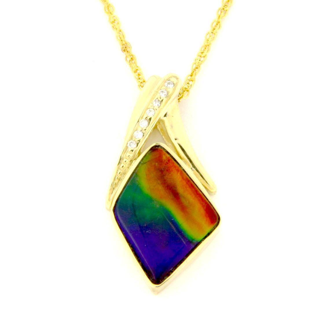 14kt gold ammolite pendant