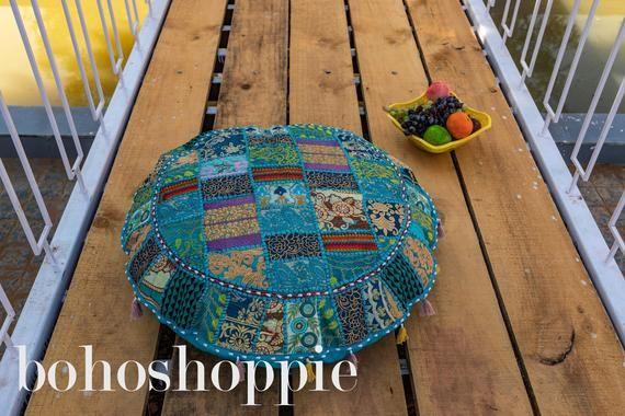 Assorted Patchwork Floor Cushion Cover,Meditation Pouffe,Living Room Decor Floor Pillow,Outdoor Furn