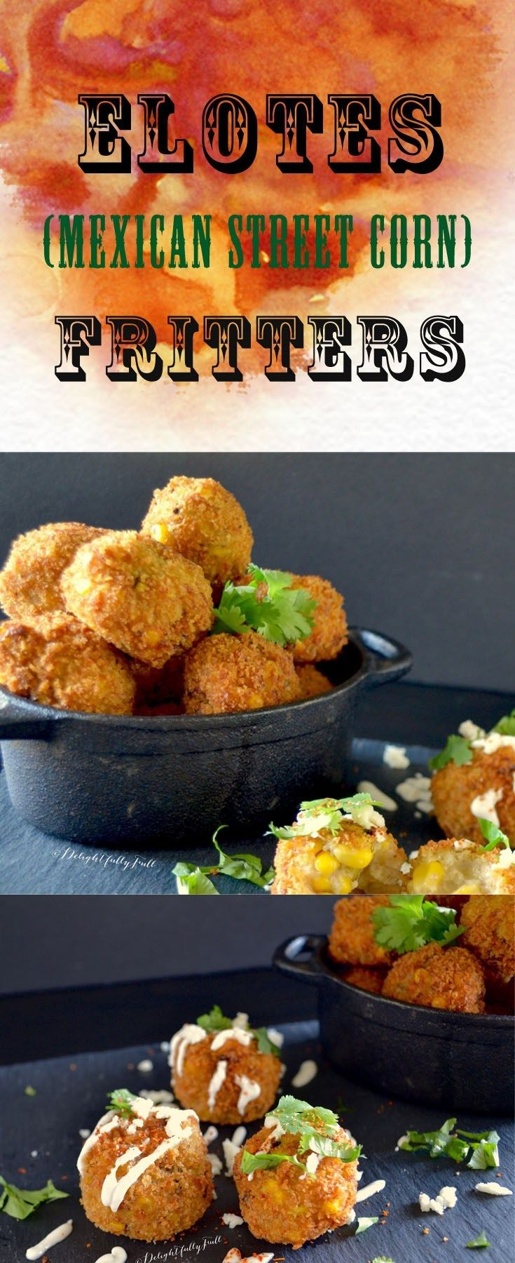 Elotes Fritters with lime crema #mexicanstreetcorn