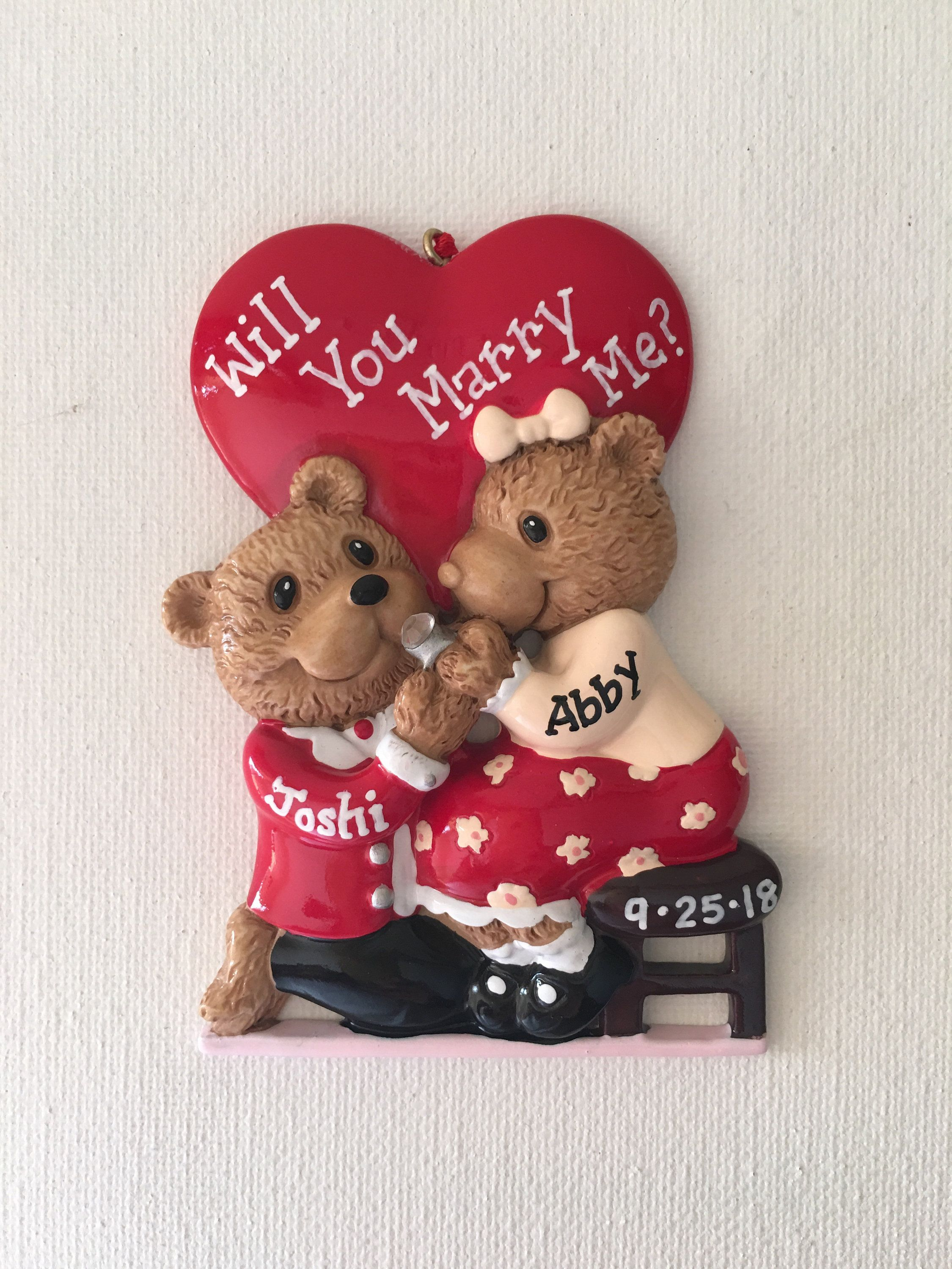 Bear couple engagement she said yes will you marry me personalized