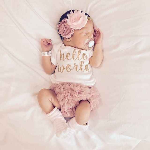 5fbfbae7f ***Please leave date needed by in Notes to seller during checkout!*** The  Bodysuit used is Carters Brand Baby Pink & Dusty Rose & Gold Headband, ...