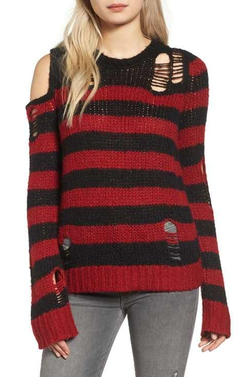 Pam & Gela Stripe Open Knit Sweater
