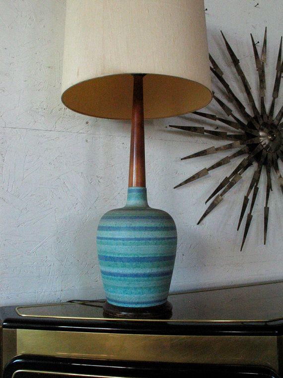 Mid Century Danish Modern Teak Pottery Table Lamp Glidden