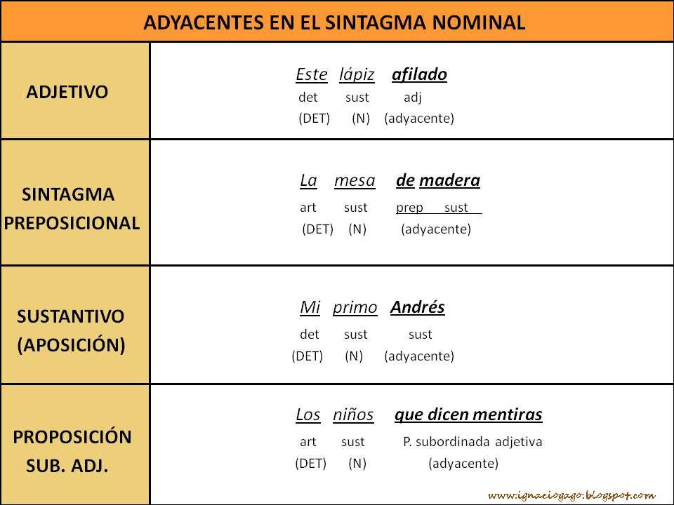 Adyacentes Del Sintagma Nominal Sintaxis Apuntes De Lengua Oraciones Simples Y Compuestas