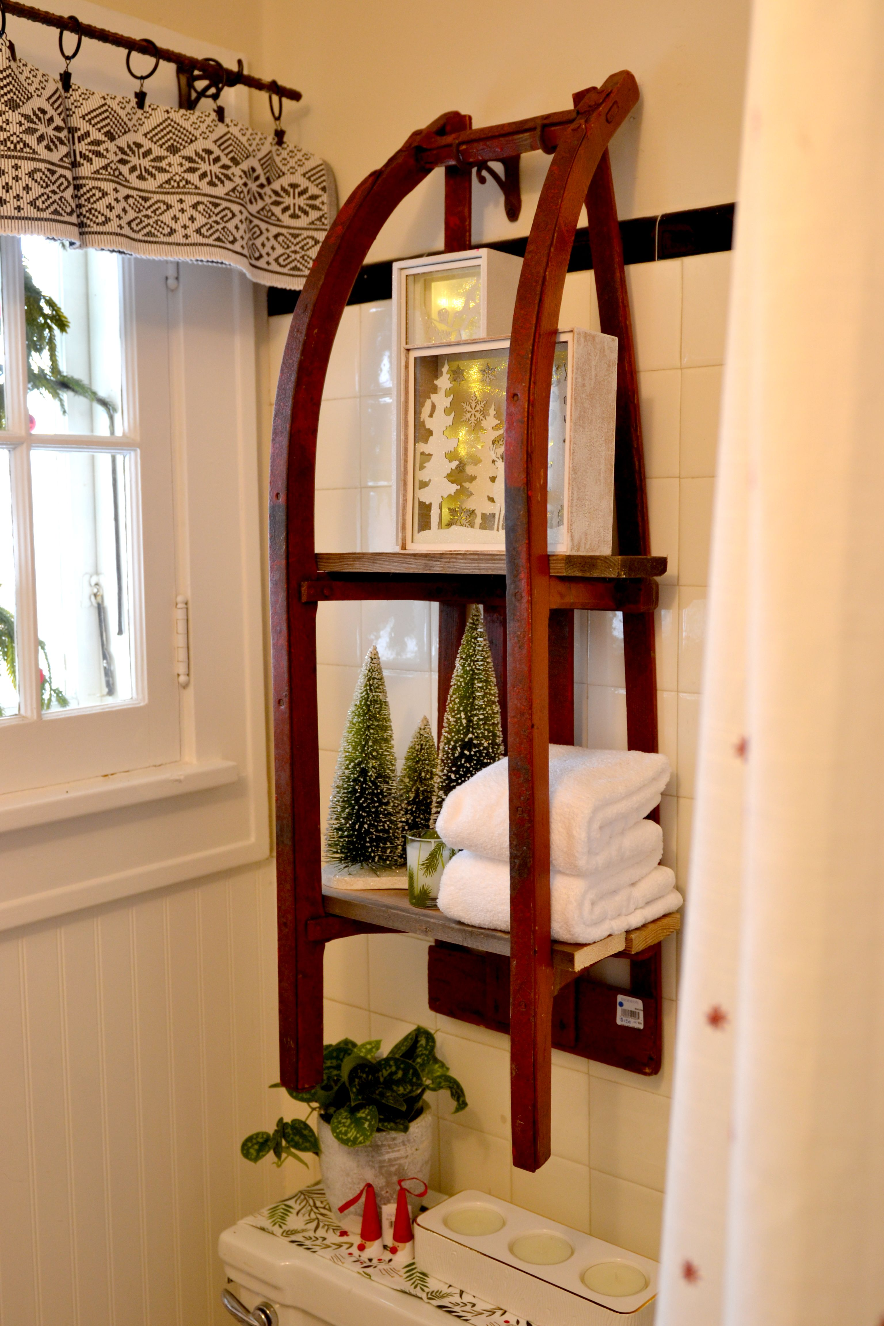 Old sled repurposed into a shelving unit. (As seen in
