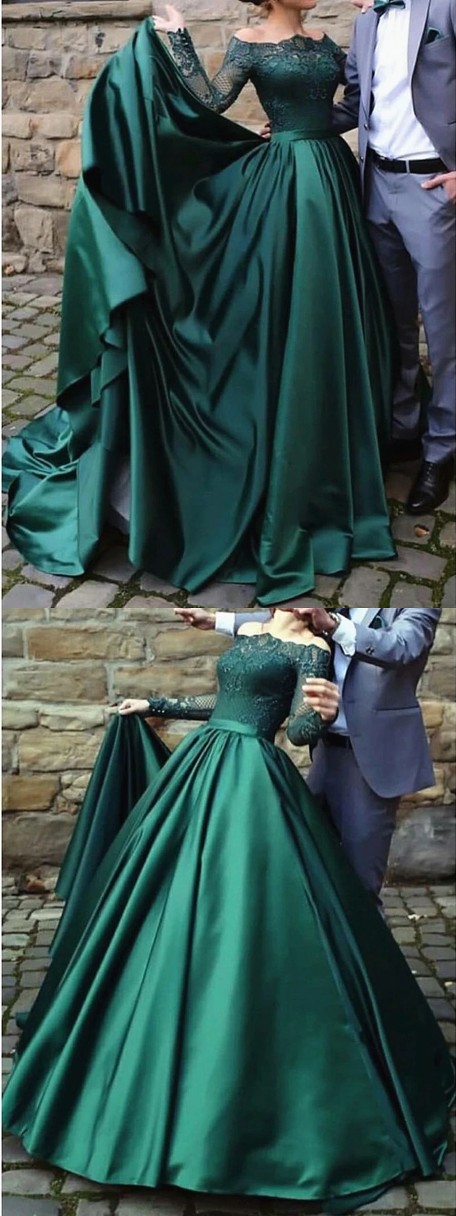 Click For Outfit Details Emerald Green Long Sleeve Floor Length Wrap Dress Black And Gold Geometric Pattern Eveni Maxi Dress Evening Guest Dresses Fashion [ 1635 x 736 Pixel ]