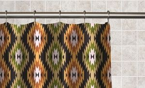 Aztec Print Fabric Shower Curtain With 12 Matching Roller Ball