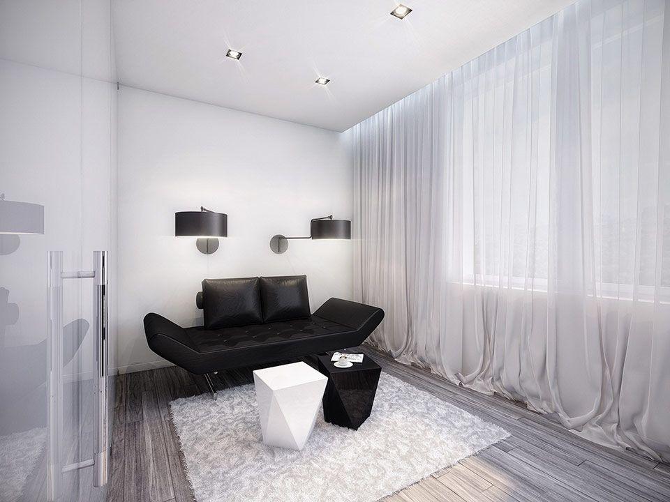 Amazing futuristic black and white apartment by geometrix black and white room black sofa