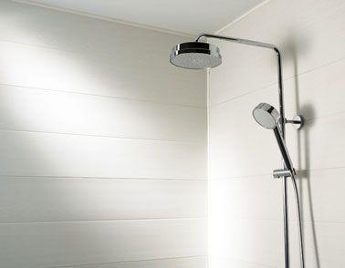 Merveilleux Lambris PVC Pour Murs Douche Couleur Blanc Aspect Parquet