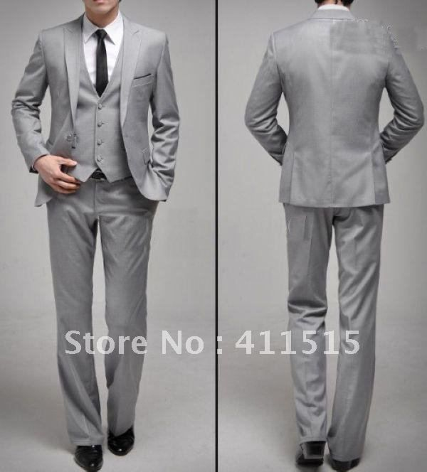 Light grey three-piece suit, black skinny tie, white shirt. | My ...